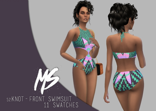 Knot-front swimsuit by MerakiSims