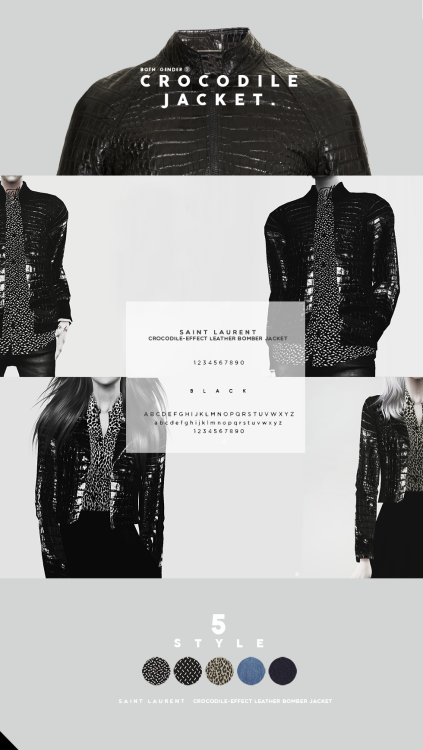 Crocodile leather bomber jacket by BLACK
