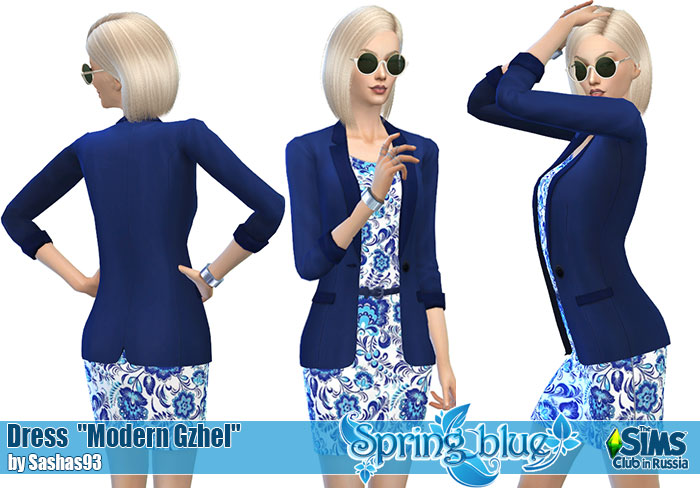 "Dress ""Modern Gzhel"" by Sashas93"
