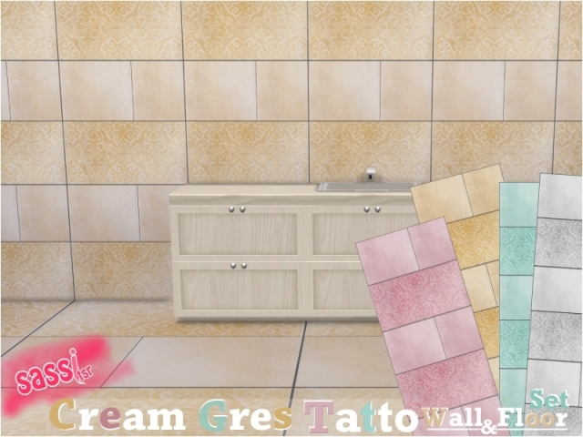 Cream Gres Tattoo Wall & Floor Set by sassitsr