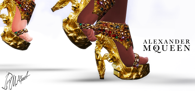 Alexander McQueen Gold Sculpted Platform Shoes by MrAntonieddu