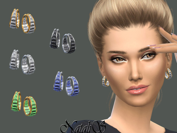 NataliS_Double hoop baguette earrings