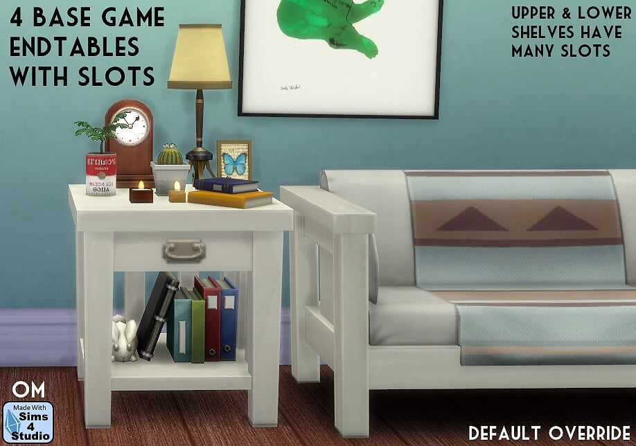 4 Base Game End Tables with Slots by OM