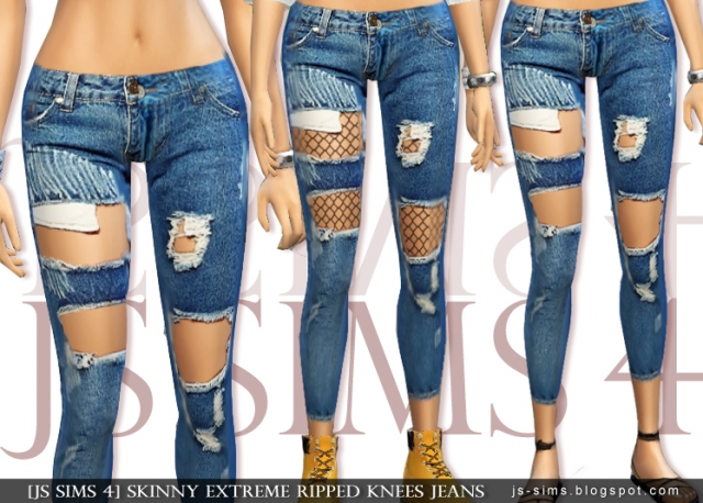 Skinny Extreme Ripped Knees Jeans by JS SIMS 4