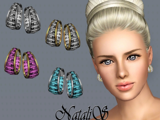 Baguette Hoop Earrings FA-FE by NataliS