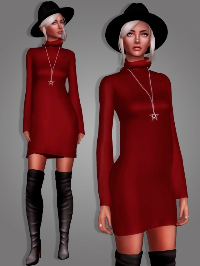 Long Sweater Dress and Star Necklace by MariaMaria
