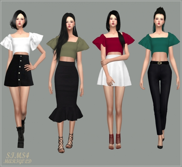 Flowing Sleeves Crop Top by marigold