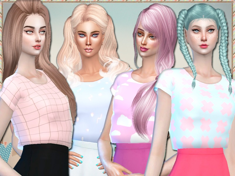 Pastel Cropped Tees - mesh needed  BY Simlark