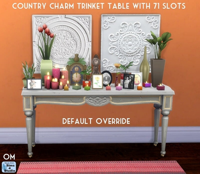 Country Charm Trinket Table with 71 Slots by OM