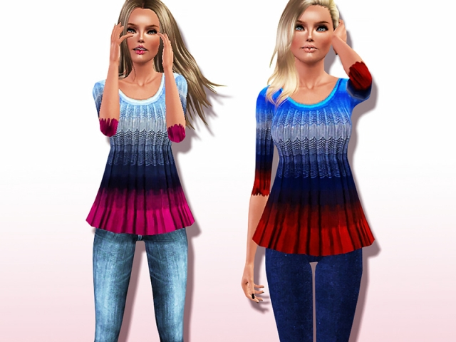 On-trend Ombre Half-sleeve Tank Top by Harmonia