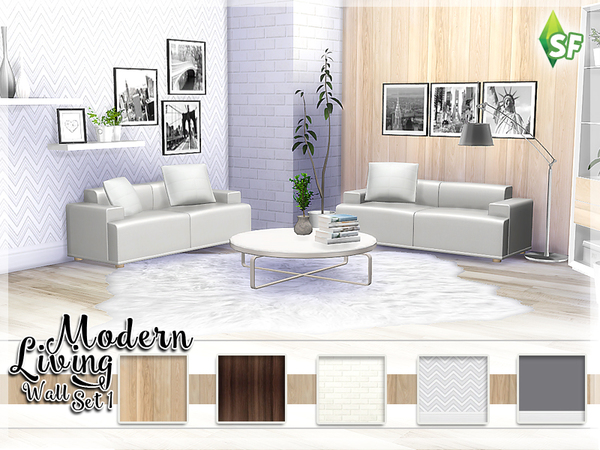 Modern Living Wall Set 1 by SimFabulous