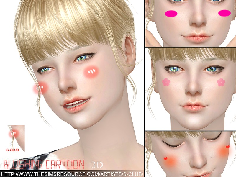 S-Club WM thesims4 3D Blushing cartoon
