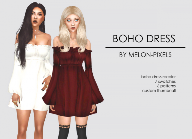 BOHO DRESS RECOLORS by melon-pixels