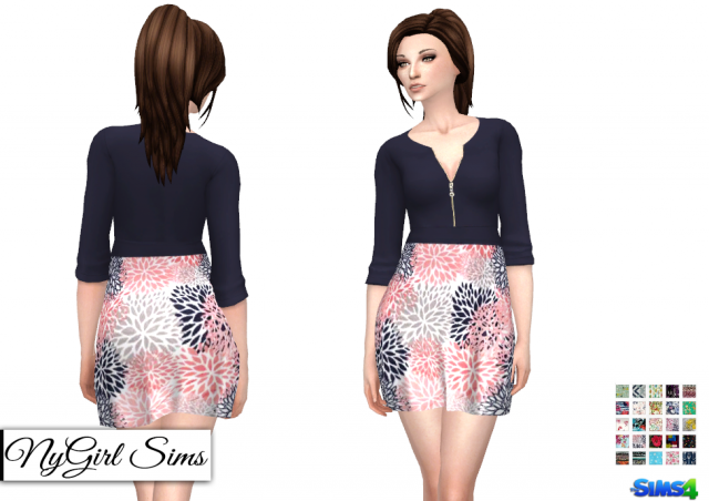 Платье Zippered V Neck Dress in Prints by NyGirl