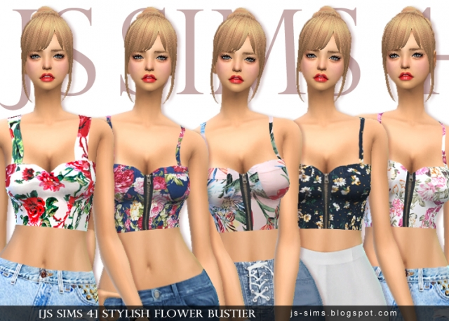 Stylish Flower Bustier by JS SIMS 4
