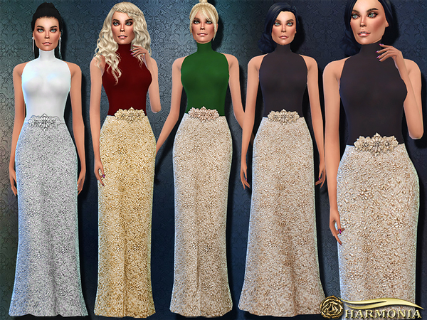Crystal Waistband Turtleneck Gown by Harmonia