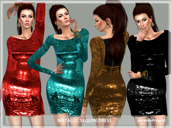 Metallic Sequin Dress by Serpentrogue