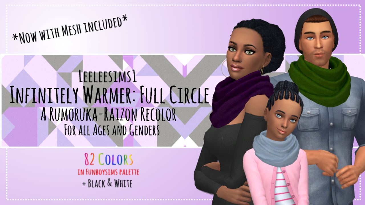 Infinitely Warmer Scarf in 82 Recolors by LeeleeSims1