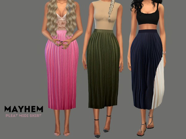 Pleat Midi Skirt 01 by NataliMayhem