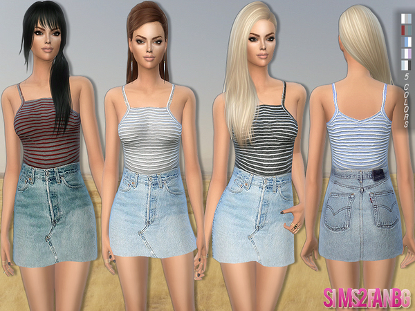 173 - Casual outfit - denim skirt with top by sims2fanbg