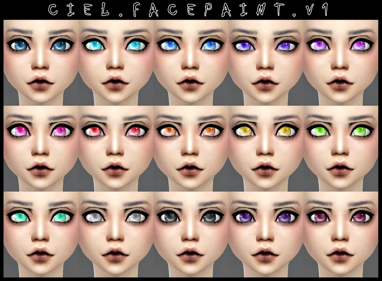 Ciel.Facepaint. v1 and v2 by DecayClown