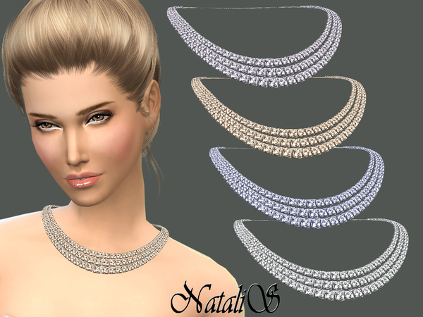 NataliS_Three strands bridal crystal necklace