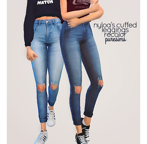 cuffed jeans - recolor of nyloas cuffed leggings by puresims