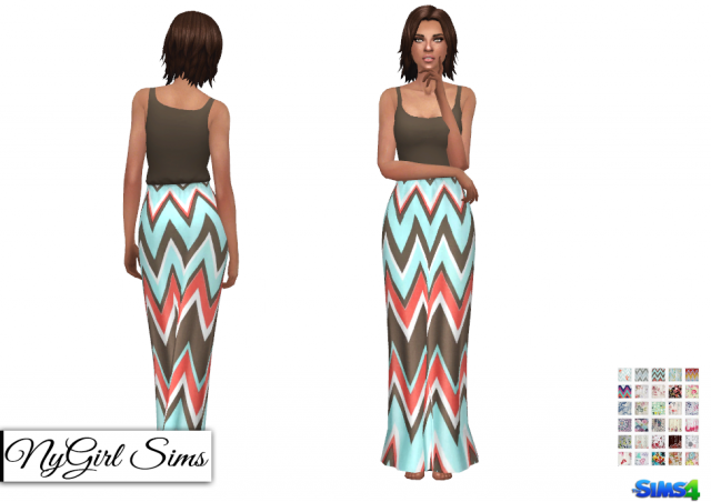 Gathered Waist Tank Maxi Dress Prints by NyGirl