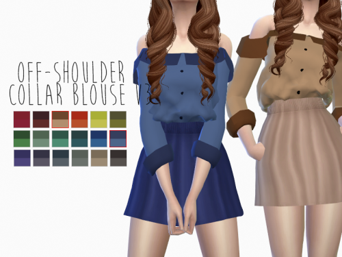 Off-Shoulder Collar Blouse in 18 Recolors by SensFelipa
