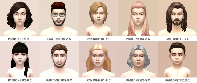 Fair Pale Skin Tones for Males and Females by SimsInSpring