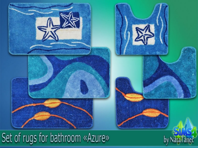 "Set of rugs for bathroom ""Azure"" by Natatanec"