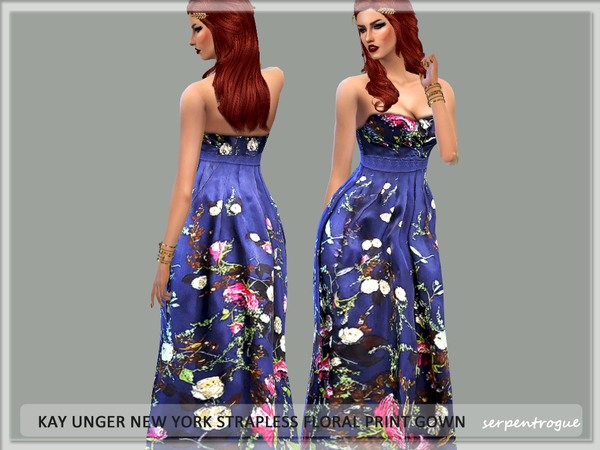 Kay Unger New York Strapless Floral Print Gown by Serpentrogue