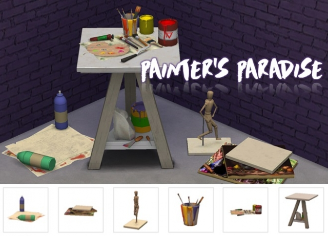 TS3 Painter's Paradise Clutter Conversions by Sims-Like-It-Hot