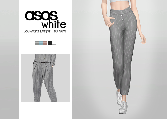 Asos White Awkward Length Trousers for Females by Waekey