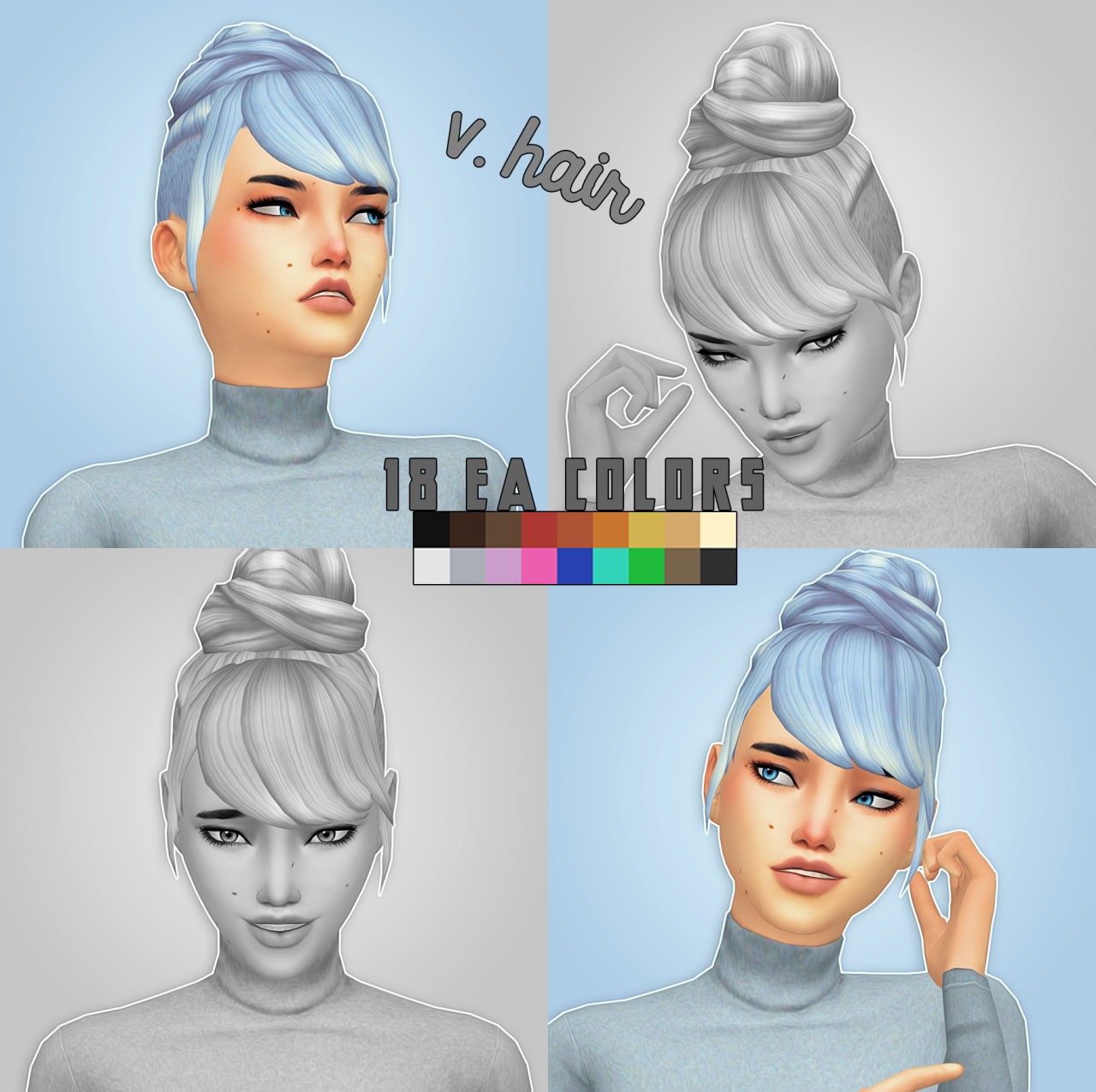 V Hair_18 EA colors by CrazyCupcakefr