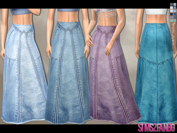 180 - Denim Maxi Skirt by sims2fanbg