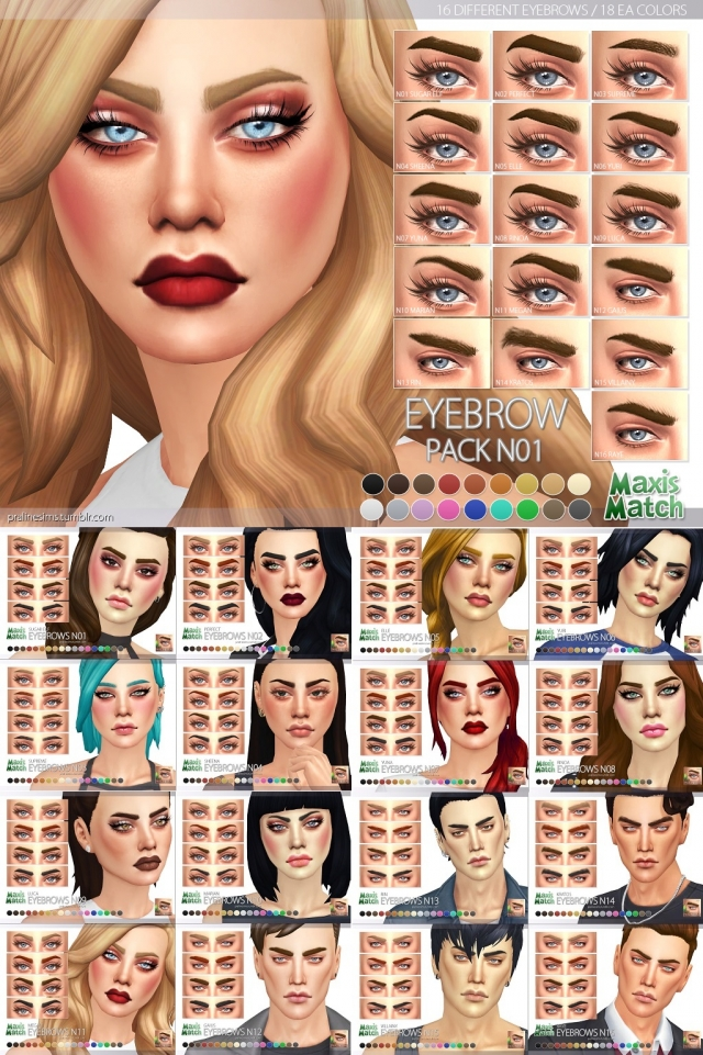 Maxis Match Eyebrow Pack N01 by Pralinesims