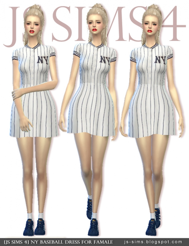 NY Baseball Dress For Famale by JS Sims 4