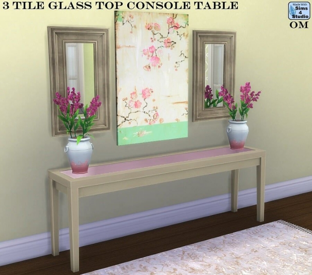 3 Tile Glass Top Console Table от OM