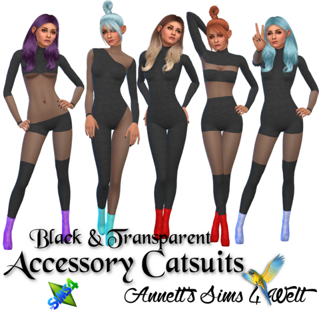 "Accessory Catsuits ""Black & Transparent"" by Annett85"