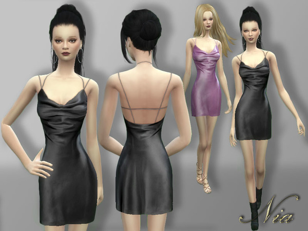 Silk-Satin Mini Dress by Nia