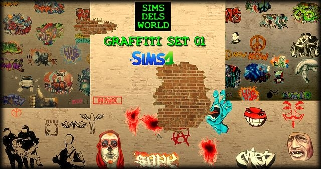 Graffiti set 01 mega pack by SimsDelsWorld