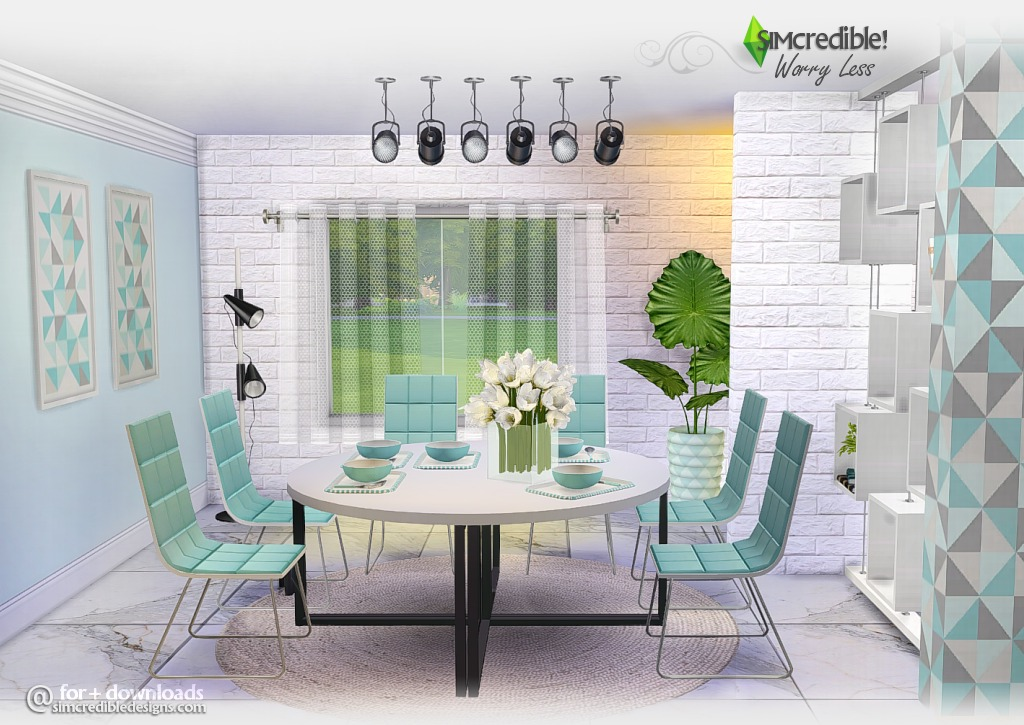 Worry Less Dining and Living Set by Simcredible Designs