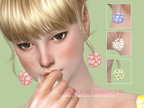 S-Club WM ts4 Flower balls earring N01