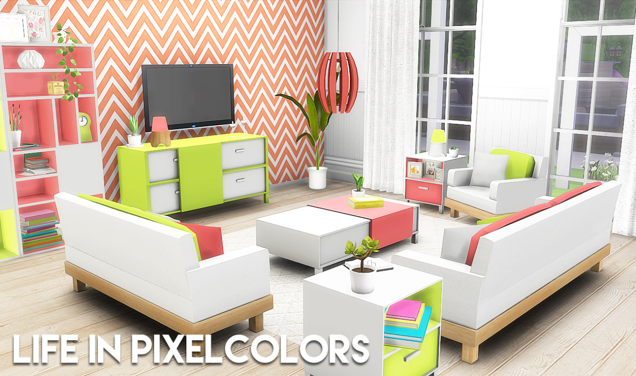 Life In Pixel Colors Living Set by ThePlumbobArchitect