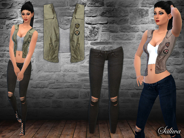 Military Vest Outfit by Saliwa