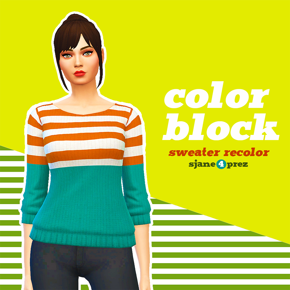 Color Block Sweater Recolors for Females by SJane4PrezCC
