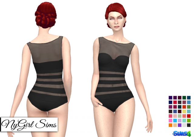 Sheer Panel One Piece Swimsuit by nygirlsims