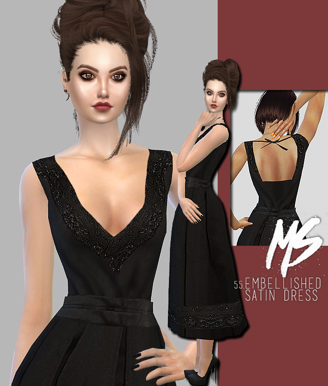 Embellished Satin Dress by MerakiSims