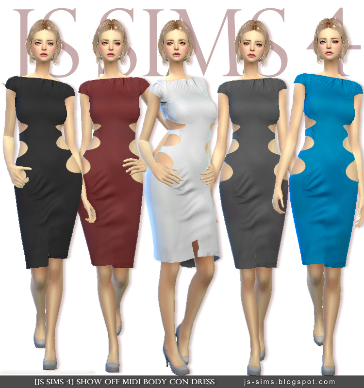 SHOW OFF MIDI BODY CON DRESS JS Sims 4
